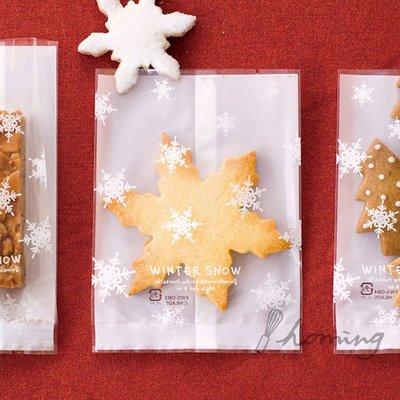 【homing】(9X11.5cm)雪花白底透明亮面烘焙點心西點包裝袋/烘焙袋/西點袋/餅乾袋/瑪德蓮/糖霜餅乾/耶誕薑餅