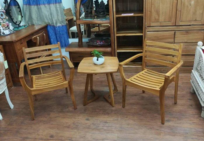 【肯萊柚木傢俱館】印尼100%柚木風化處理休閒椅組 全實木 實用美觀(一桌兩椅)