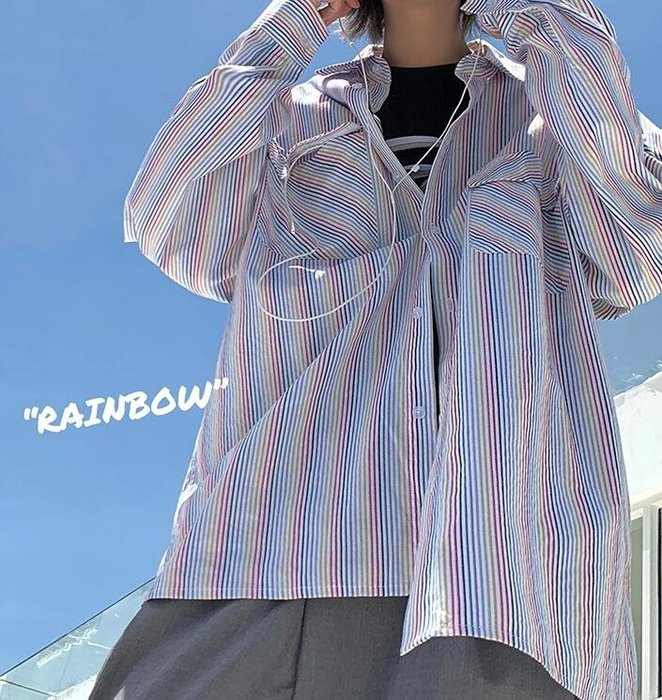 FINDSENSE X  男士 長袖  休閒 港風學院風韓版帥氣時尚小青年彩虹條襯衫