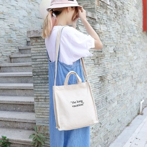 手提包 帆布側背包-白底字母印花方型女包包3色73xb33[獨家進口][米蘭精品]
