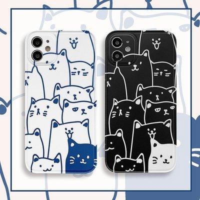 Tactile`線條貓咪適用蘋果12手機殼硅膠防摔iphone12promax鏡頭全包軟殼女