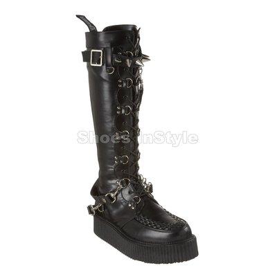 Shoes InStyle《二吋》美國品牌 DEMONIA 原廠正品英式搖滾龐克歌德厚底平底及膝靴有大尺碼 出清『黑色』