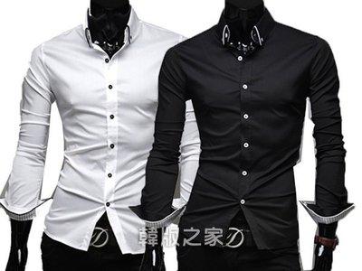 韓版之家時尚包邊 條紋內襯 男士修身休閑長袖襯衫 A576