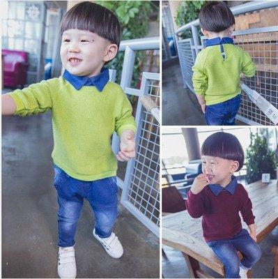 ♥【BC0135】韓版男童裝牛仔領長袖毛線衣 2色 (酒紅色 現貨) ♥