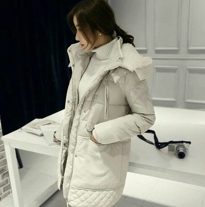 韓國 鋪棉 羊絨 大衣 中長款 外套 保暖 風衣 Me Gusta