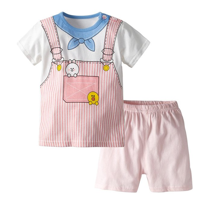夏季新款 歐美短袖家居服 女童 假背帶短袖短褲套裝純棉兩件套