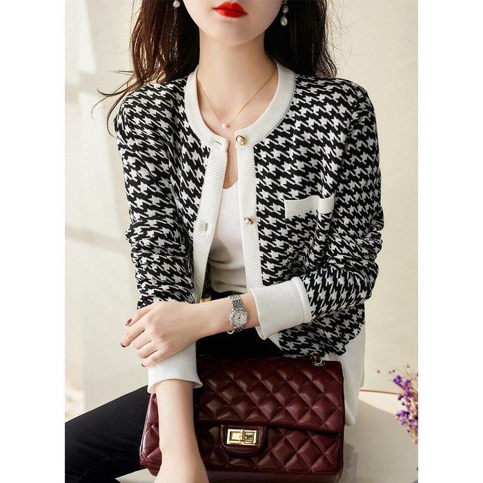 復古珍珠扣千鳥格針織開衫外套 1143