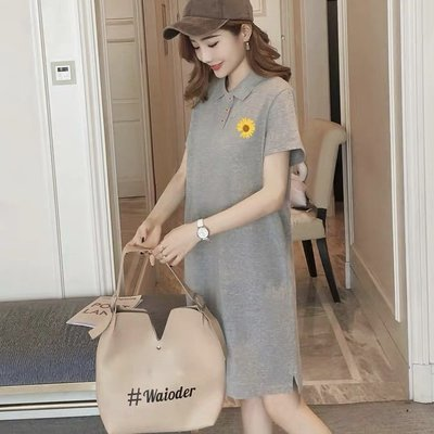 *Angel  Dance*短袖純棉洋裝(2色)@韓國 polo領 M到4XL 小雛菊 T恤裙 大中尺碼@現貨+預購