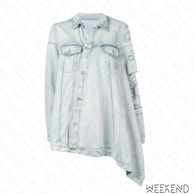 【WEEKEND】 UNRAVEL Distressed 破壞 長版 不對稱 長袖 牛仔 上衣 襯衫 19春夏