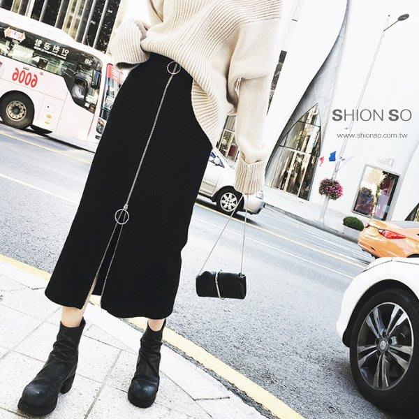享瘦衣身中大尺碼【B9203】拉鍊造型款顯瘦塑型中長裙