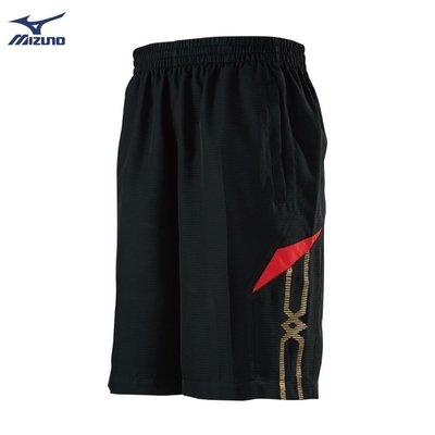 棒球世界全新【MIZUNO 美津濃】男款平織短褲 32TB950596(黑X紅)特價