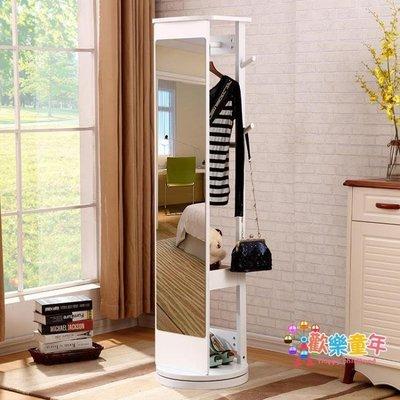 穿衣鏡旋轉全身落地鏡臥室置地衣帽鏡子收納多功能簡約現代試衣鏡 XW