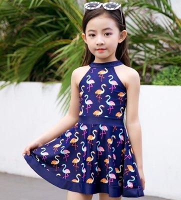 兒童泳衣小中大童韓國連體裙式平角女童女孩學生遊泳衣溫泉