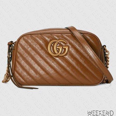 【WEEKEND】 GUCCI GG Marmont Small 小款 皮革 山形紋 肩背包 相機包 棕色 447632