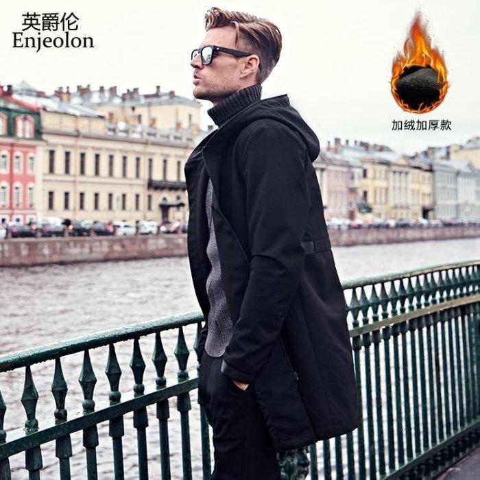 外套夾克英爵倫春季2018新款風衣男士新品夾克外套中長款韓版潮流修身帥氣
