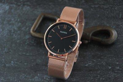 new arrival西班牙品牌nafisa百搭韓風時尚都會簡約DW風格,優雅玫瑰金色錶殼清晰刻度石英錶黑色面板