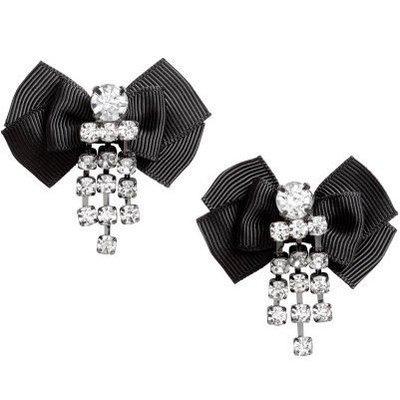 正品 H&M earring with bow 黑色緞帶蝴蝶結水鑽垂墜耳環