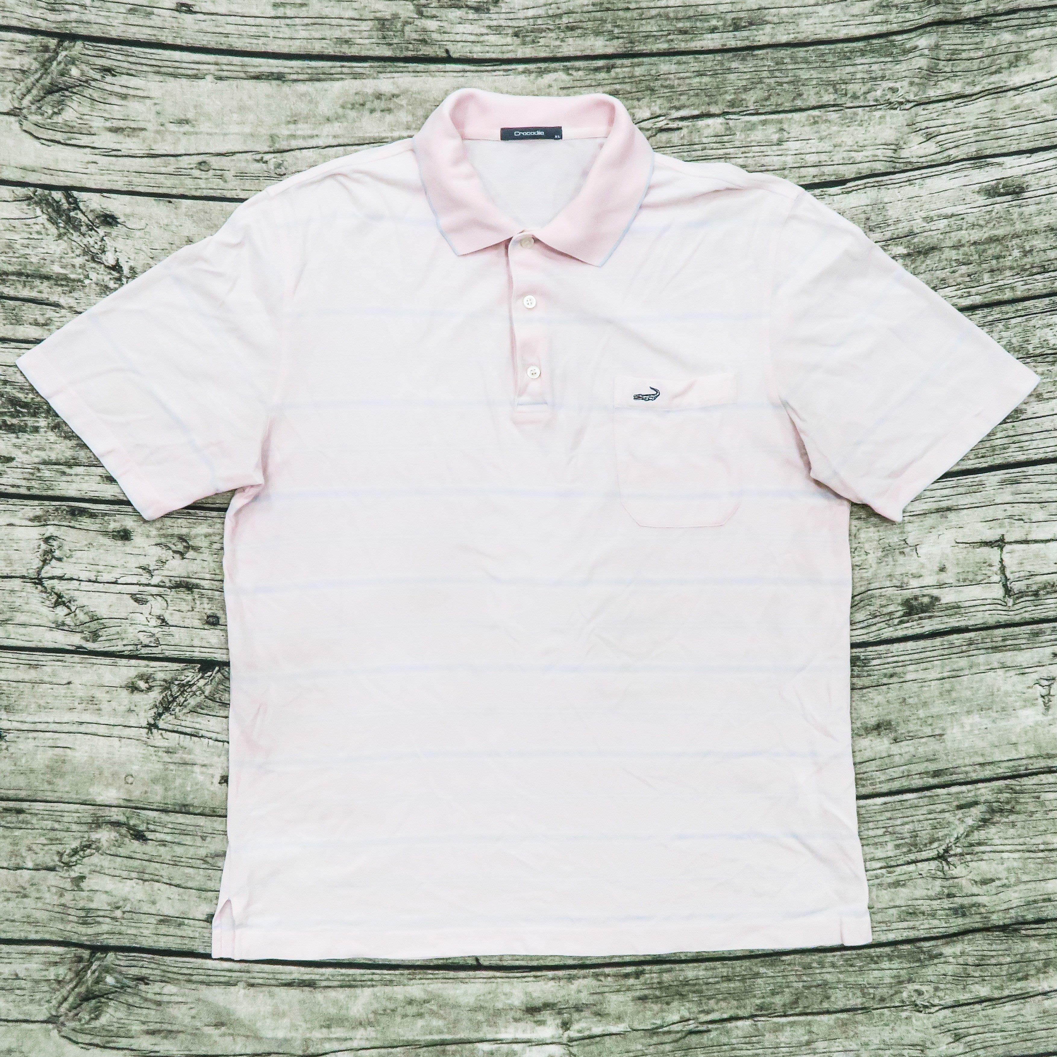 【品牌競區】Crocodile / 粉紅色 / 條紋 / 短袖 / POLO衫 / XL號~ 4D24