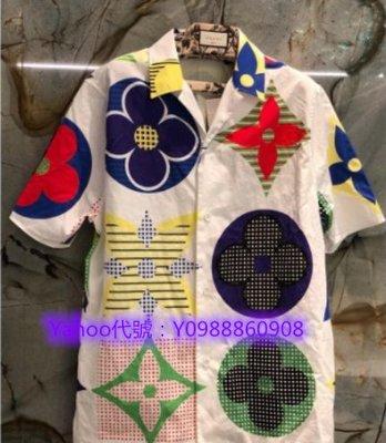 里昂二手正品  Louis Vuitton/路易威登 20SS Multicolor 彩色印章 老花短袖襯衫 實拍