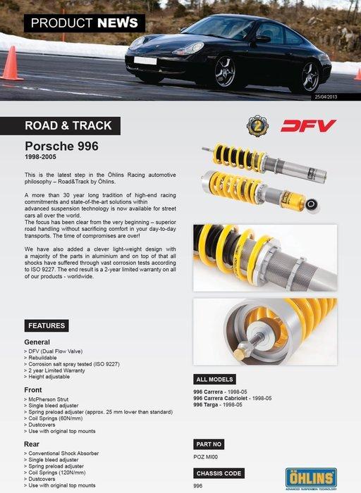 Porsche 保時捷 996 Carrera 98-05 專用 瑞典 Ohlins Road & Track 避震器