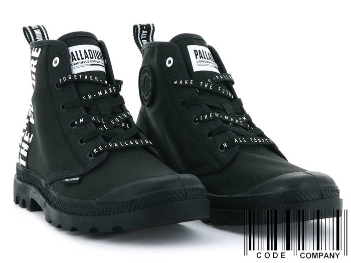 =CodE= PALLADIUM PAMPA HI FUTURE 彈道尼龍帆布軍靴(黑) 76885-008 字鞋帶 女