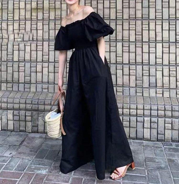 SEYES 日韓系雜誌款甜美時尚平口露肩二穿法泡泡袖連身褲