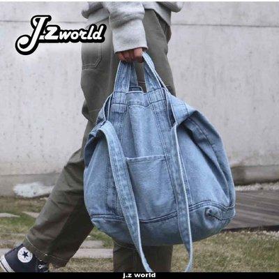 [ j.z world 小版男裝 ] 預購 日系職人 簡約 仿舊水洗 牛仔側背包 托特包 單肩包 手提包 多背法