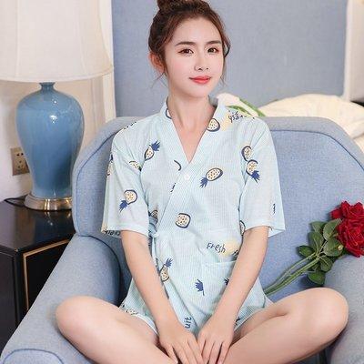 韓版學生睡衣女夏季短袖短褲棉質可愛和服寬鬆家居服兩件套裝日式 促銷下殺85折   全館免運