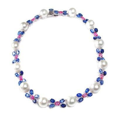 【JHT金宏總珠寶/GIA鑽石專賣】天然珍珠鑽石套鍊/材質:18K(JB46-A16)