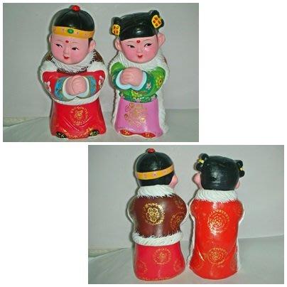 aaL皮1商旋.少見純手工製陶土彩繪中國傳統服飾恭賀新禧男女娃娃擺飾!/6廳大箱/-P
