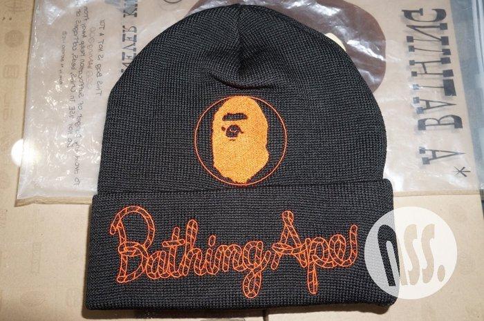 「NSS』A BATHING APE BAPE CHAMPION KNIT CAP 刺繡 毛帽 黑