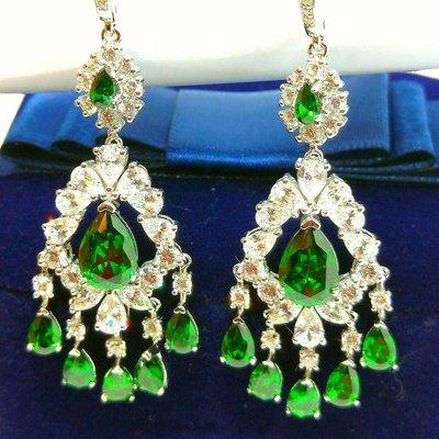 綠寶石鑽石耳環耳勾925銀包白金鑲高碳...