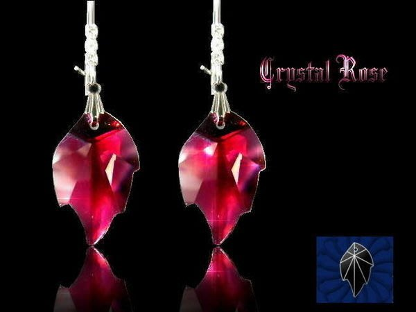 ※水晶玫瑰※ SWAROVSKI 楓葉水晶吊墜 鑲鑽耳針式耳環(DD032)