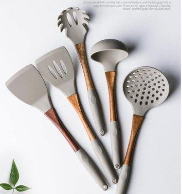鍋具-摩登主婦廚具套裝全套家用硅膠鏟不粘鍋專用鍋鏟木柄炒菜鏟子勺子-微利雜貨鋪-可開發票