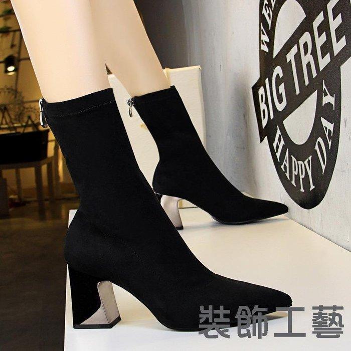 178-3時尚簡約金屬粗跟高跟絨面尖頭修腳性感夜店顯瘦短靴