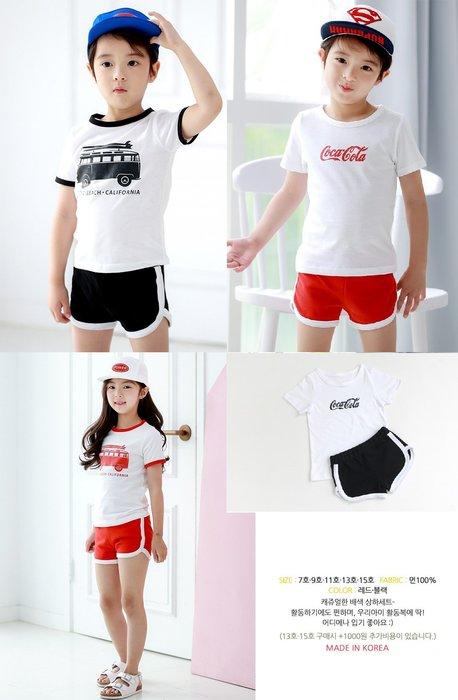【現貨+預購】正韓 韓國兒童短袖休閒運動兩件套可口可樂、海灘車圖案套裝