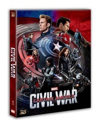 毛毛小舖--藍光BD 美國隊長3 英雄內戰 3D+2D全紙盒限量鐵盒版(A款) CIVIL WAR