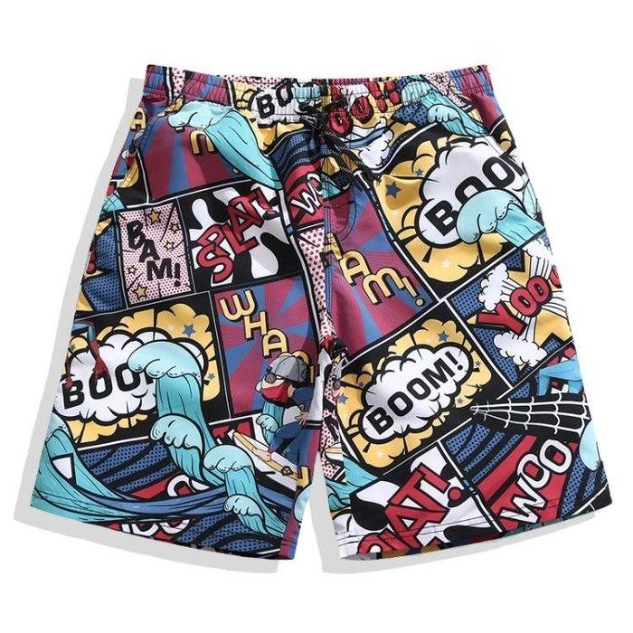 (免運)沙灘褲男大碼寬鬆情侶五分平角泳褲夏花短褲 [BOOM]