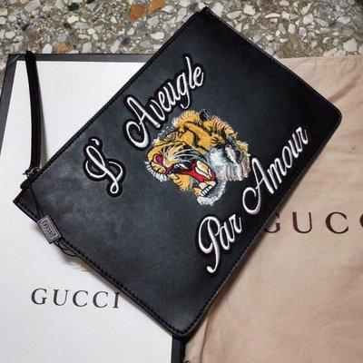 全新 Gucci  老虎刺繡全黑皮革手拿包