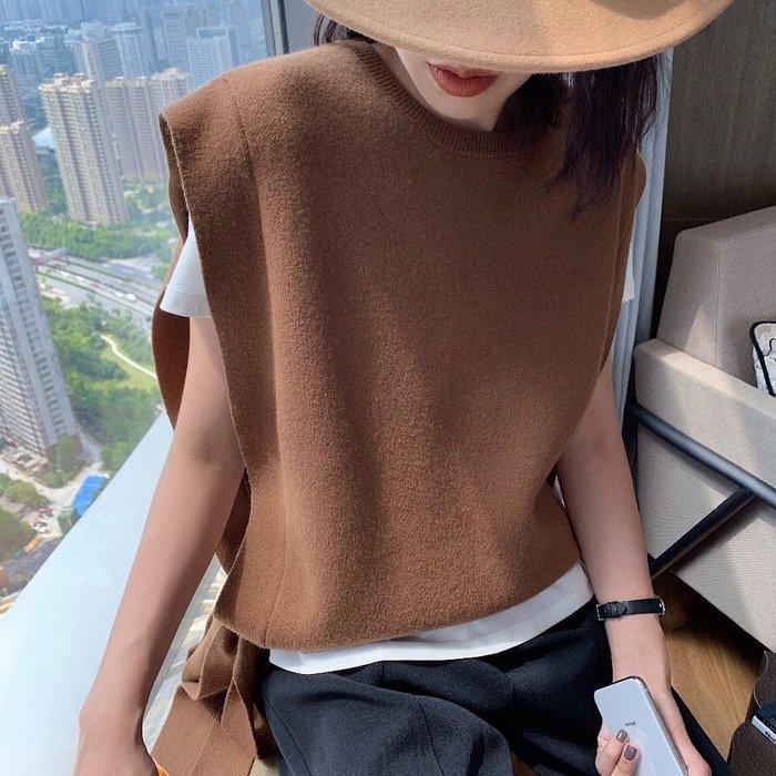 【C Select Shop】層次穿搭就靠它!側綁帶針織馬甲 百搭顯瘦 純色背心 無袖針織 韓國歐美 t恤襯衫