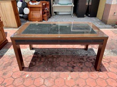 香榭二手家具*胡桃木馬鞍皮5.3尺 雙面抽屜餐桌(附玻璃)-長方桌-火鍋桌-吃飯桌-餐廳桌-洽談桌-簽約桌-會議桌-開會