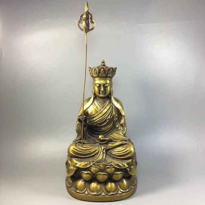一0429  禪意唯美‼ 黃銅 《地藏王》法相寂靜端莊,紋飾工整,小有包漿…有緣人請🙏重: 4127克