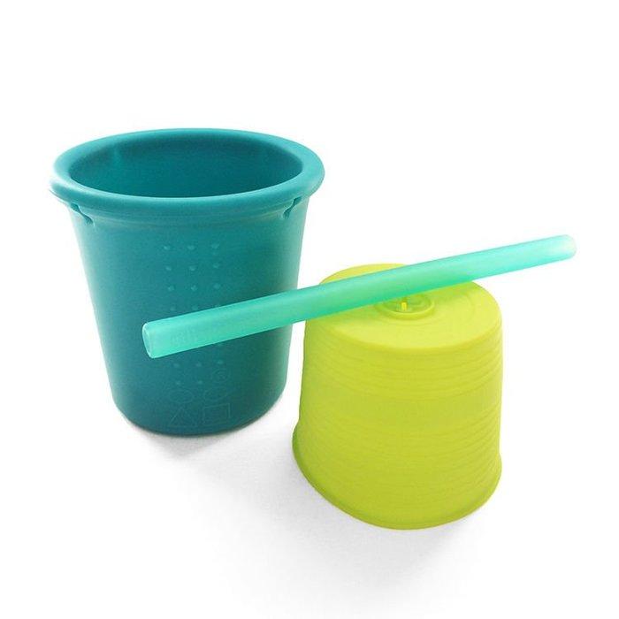 (公司貨)美國silikids果凍餐具 -矽膠吸管杯組--草地綠