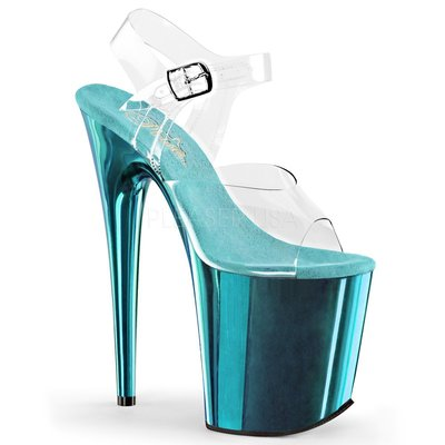 Shoes InStyle《八吋》美國品牌 PLEASER 原廠正品透明金屬鍍鉻極端厚底高跟涼鞋 有大尺碼 『藍色』