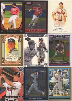 勇士隊 已退休 準名人堂 Chipper Jones 早期各式 精美畫卡 + 特卡 + 球皮平行卡等18張一起賣