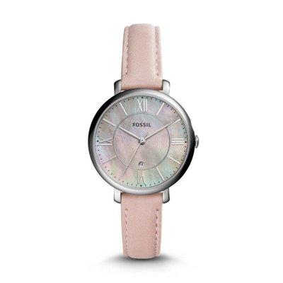 《Vovostore》Fossil ES4151 珍珠貝面銀框淺粉紅皮革女錶**附保證書、收據**($2300含郵)