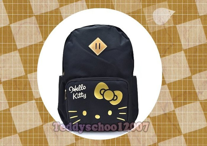 ♥♥☆╮泰迪學園╭☆♥♥ 正版SANRIO 三麗鷗【Hello Kitty】凱蒂貓 筆電 後背包(時尚黑)
