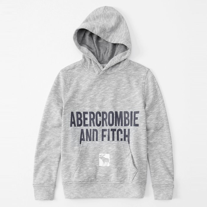 【abercrombie kids】【a&f】af男童款連帽T恤印藍字下鹿灰 F02191112-12