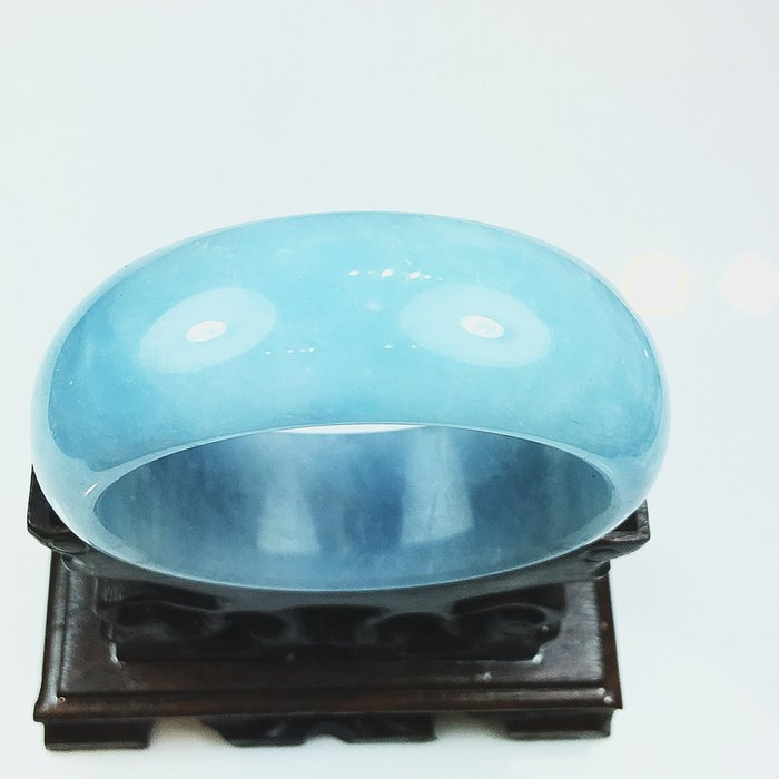 ((上品堂))頂級品.天然寬版海水藍寶手鐲,手圍17.只給第一標