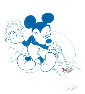 迪士尼Disney 藝術家:Jaume Esteve原創藝術作品米老鼠走他的魚